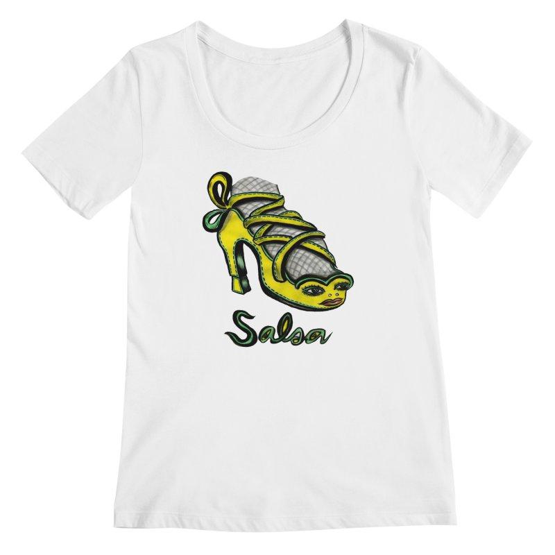 Magic Salsa Shoe Women's Regular Scoop Neck by Julie Murphy's Artist Shop