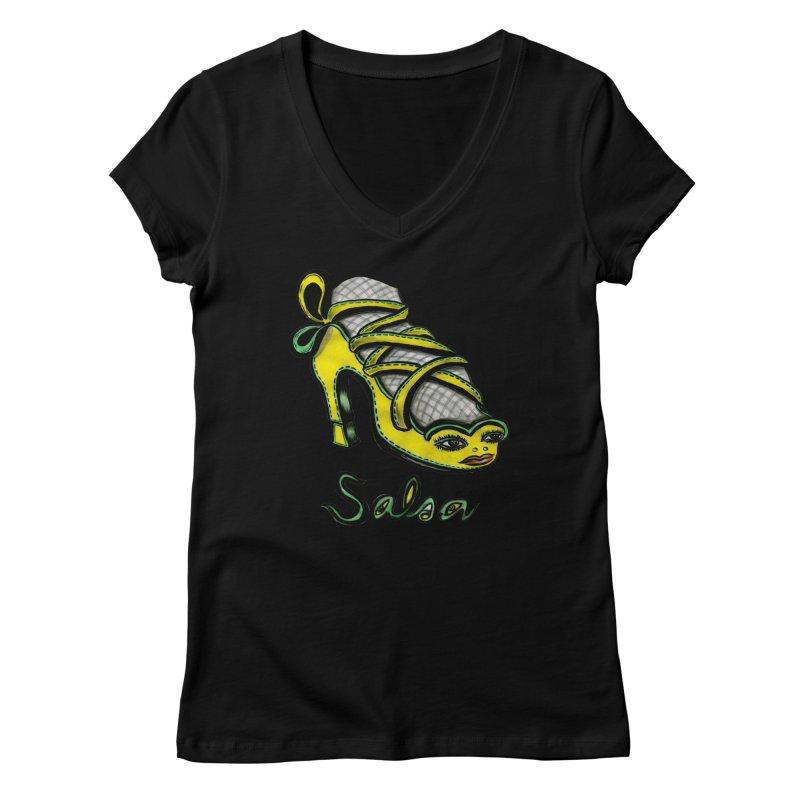 Magic Salsa Shoe Women's Regular V-Neck by Julie Murphy's Artist Shop