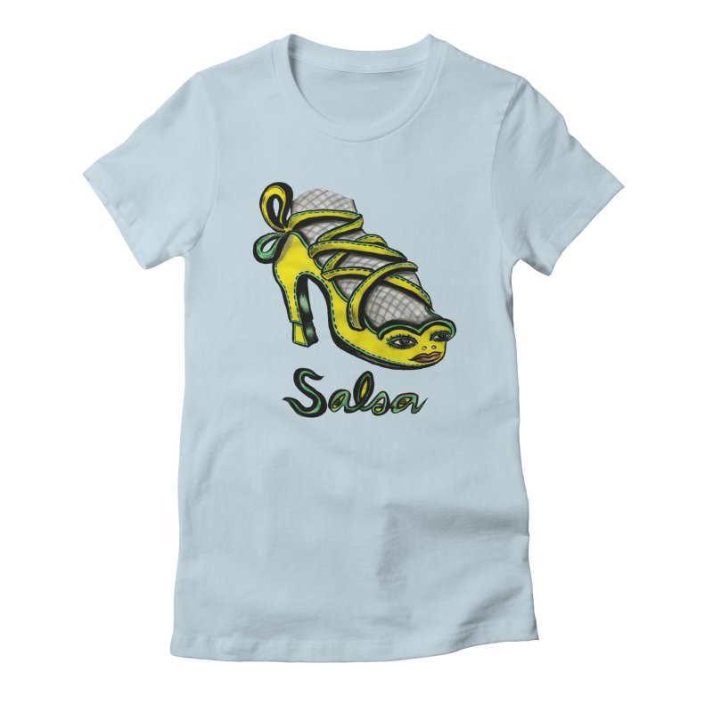 Magic Salsa Shoe in Women's Fitted T-Shirt Baby Blue by Julie Murphy's Artist Shop