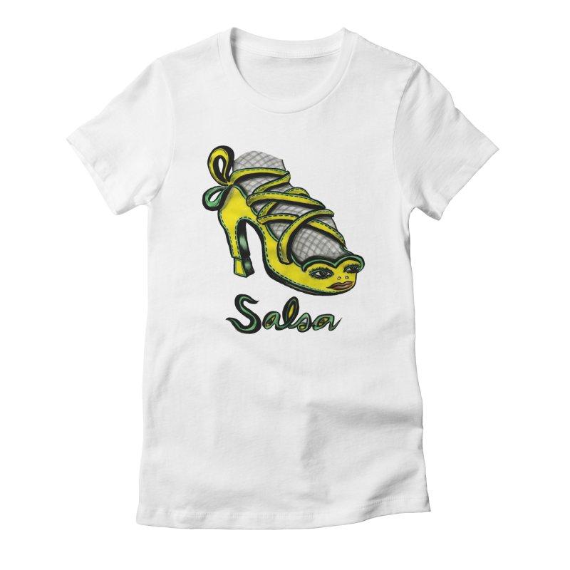 Magic Salsa Shoe Women's Fitted T-Shirt by Julie Murphy's Artist Shop