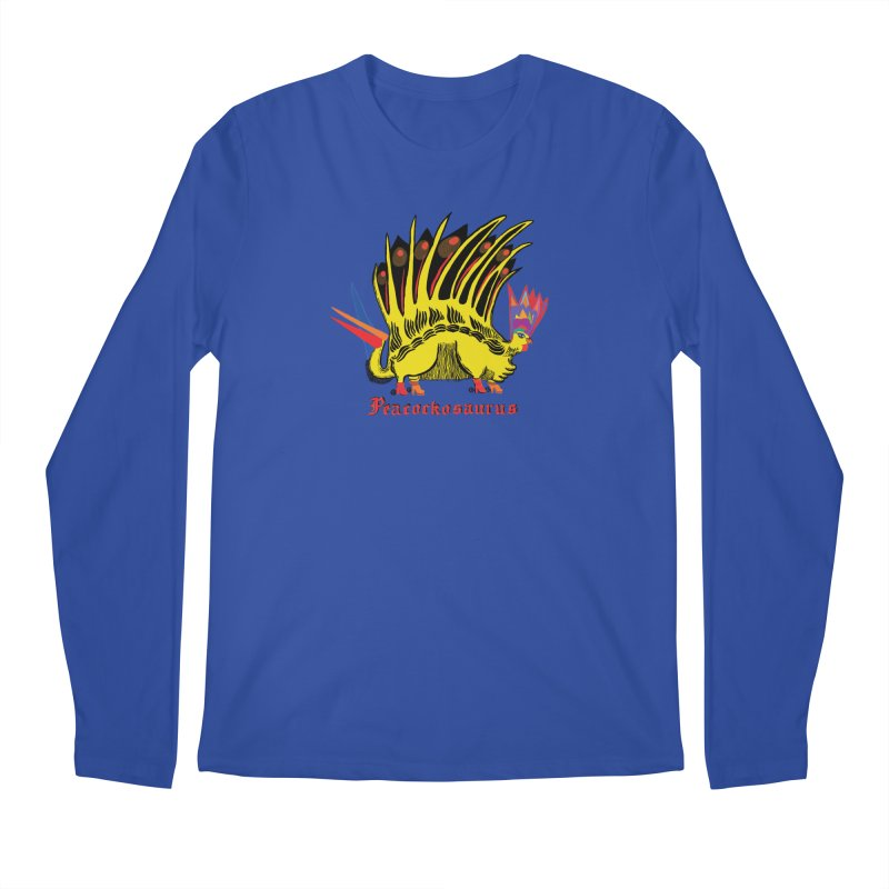 Peacockosaurus Men's Regular Longsleeve T-Shirt by Julie Murphy's Artist Shop