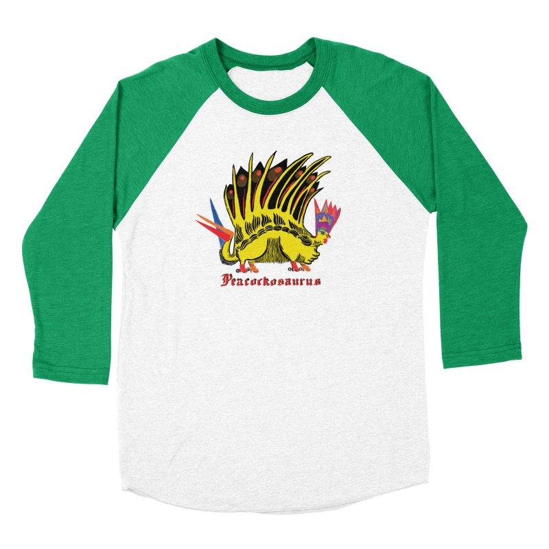 Peacockosaurus Women's Baseball Triblend T-Shirt by Julie Murphy's Artist Shop