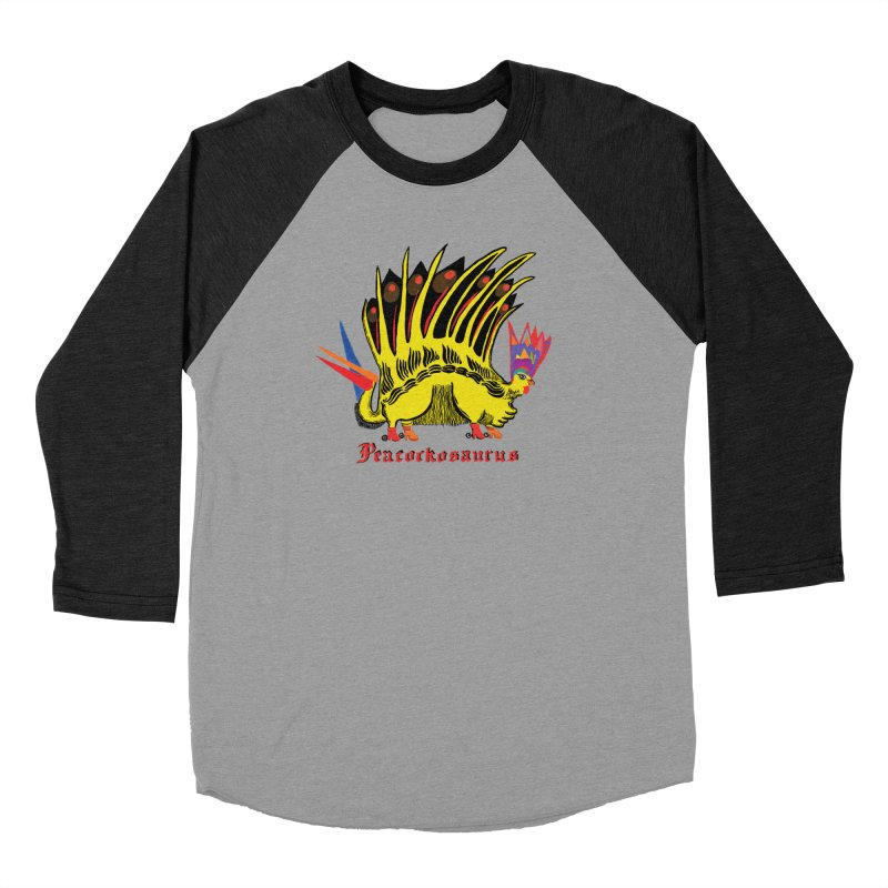 Peacockosaurus Women's Baseball Triblend T-Shirt by Julie Murphy's Artist Shop