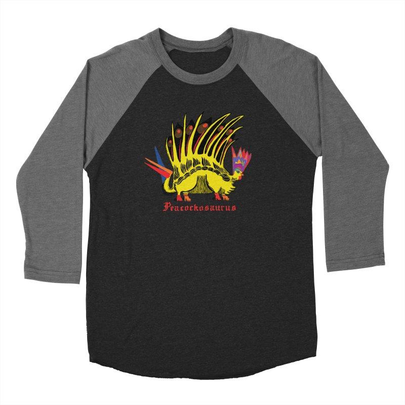 Peacockosaurus Men's Baseball Triblend Longsleeve T-Shirt by Julie Murphy's Artist Shop