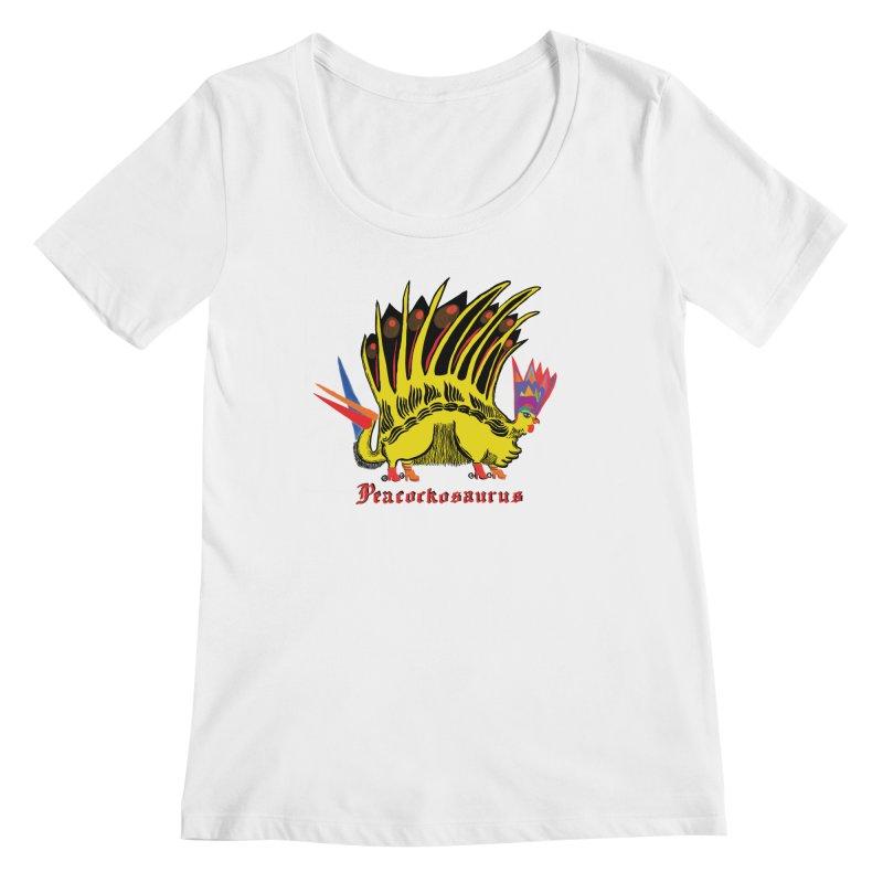 Peacockosaurus Women's Regular Scoop Neck by Julie Murphy's Artist Shop