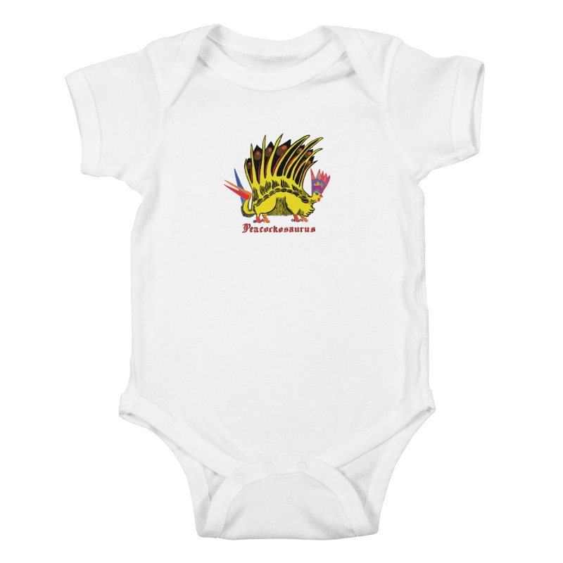 Peacockosaurus Kids Baby Bodysuit by Julie Murphy's Artist Shop
