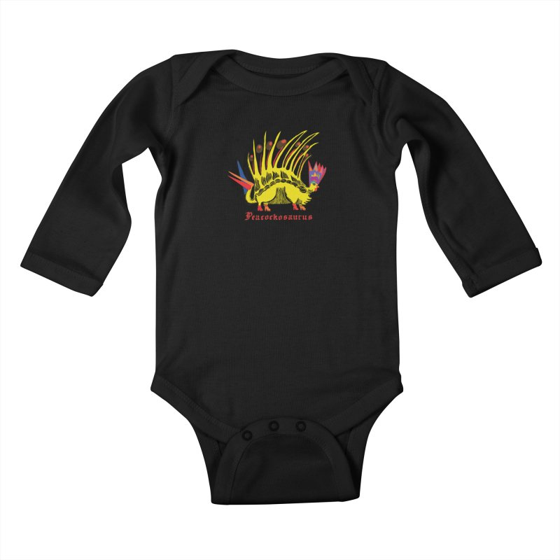 Peacockosaurus Kids Baby Longsleeve Bodysuit by Julie Murphy's Artist Shop