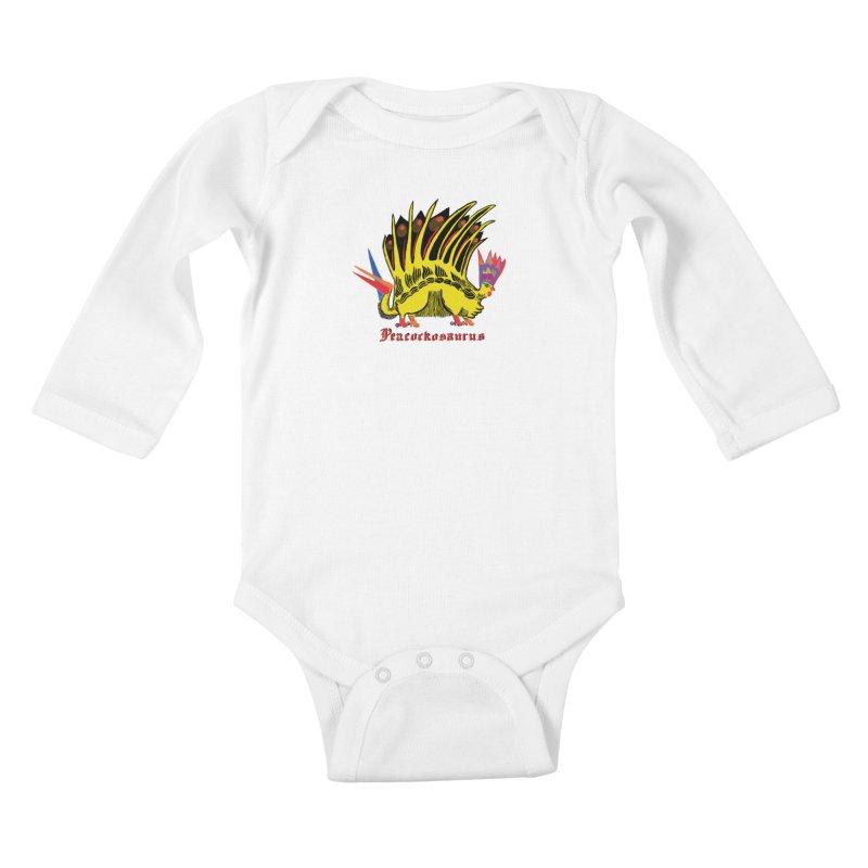 Peacockosaurus Kids Baby Longsleeve Bodysuit by Julie Murphy's Artist Shop
