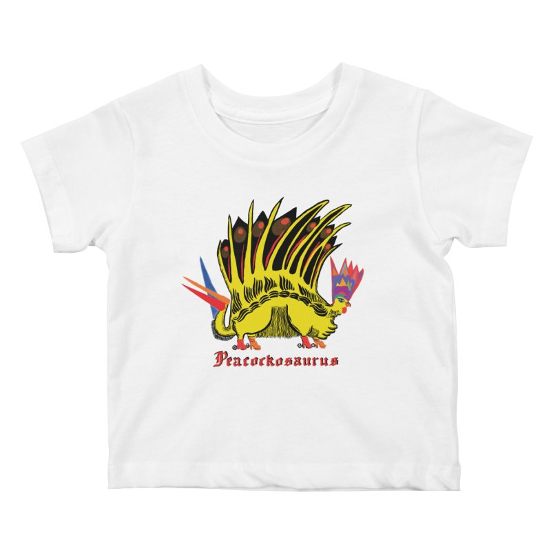 Peacockosaurus Kids Baby T-Shirt by Julie Murphy's Artist Shop
