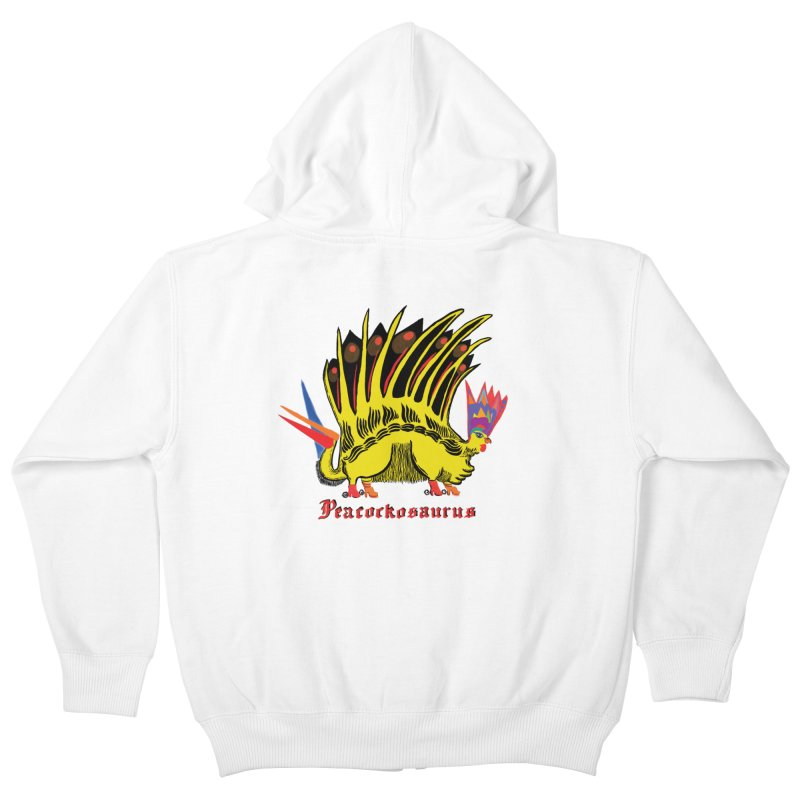 Peacockosaurus Kids Zip-Up Hoody by Julie Murphy's Artist Shop