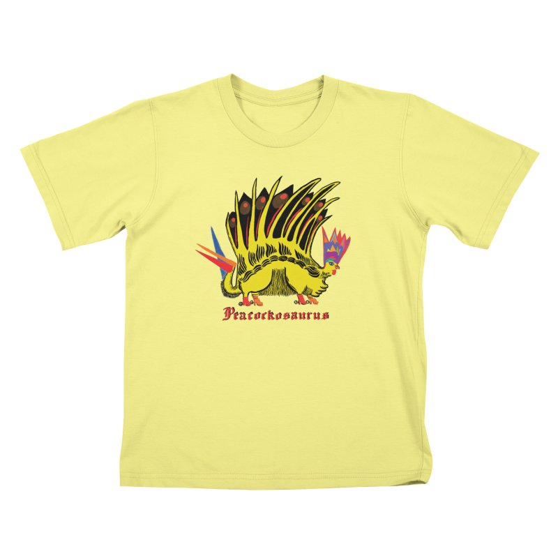 Peacockosaurus in Kids T-Shirt Canary by Julie Murphy's Artist Shop