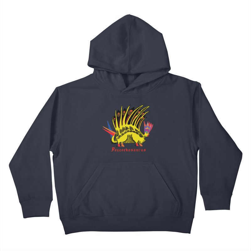 Peacockosaurus Kids Pullover Hoody by Julie Murphy's Artist Shop