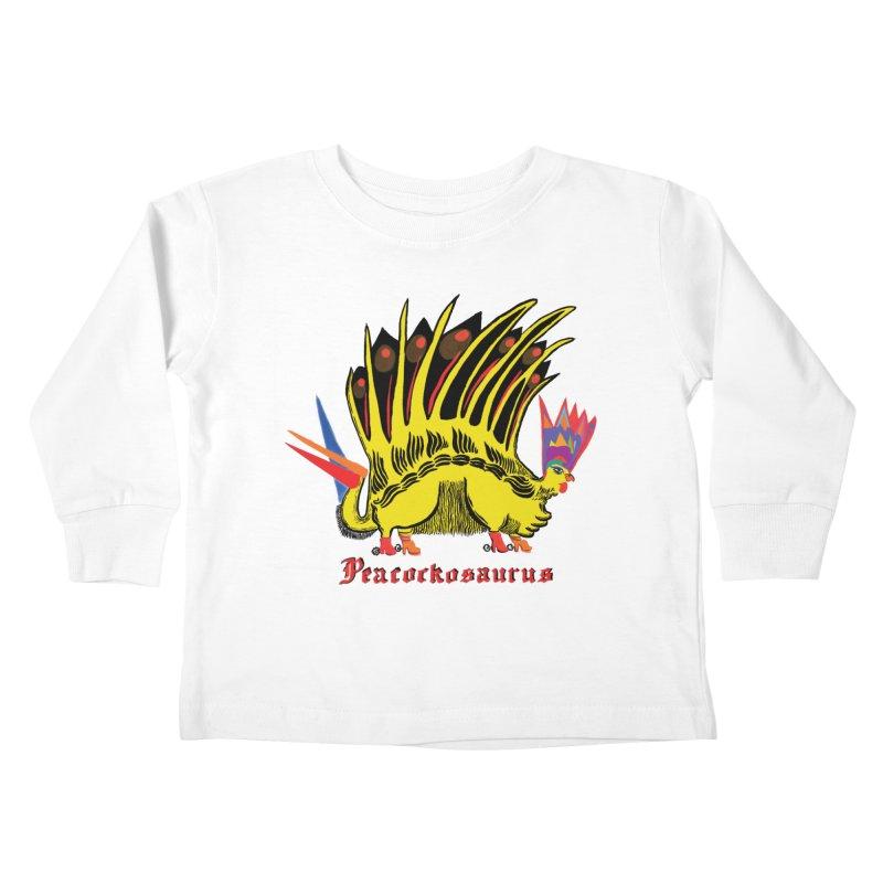 Peacockosaurus Kids Toddler Longsleeve T-Shirt by Julie Murphy's Artist Shop