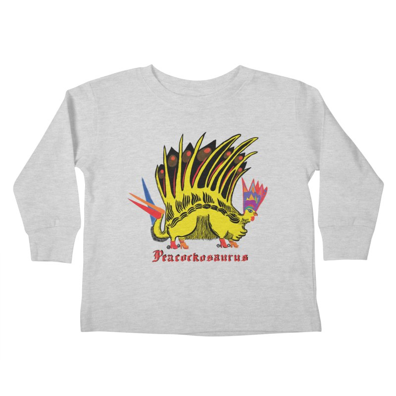 Peacockosaurus Kids Toddler Longsleeve T-Shirt by Julie Murphy's Artist Shop
