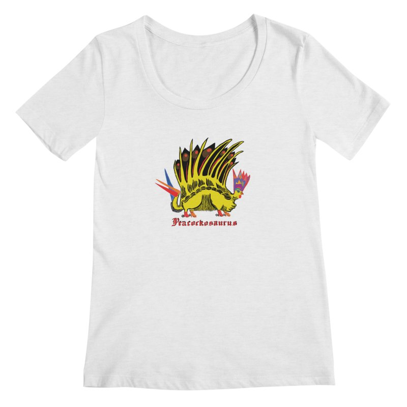 Peacockosaurus Women's Regular Scoop Neck by Julie Murphy's Artist Shop