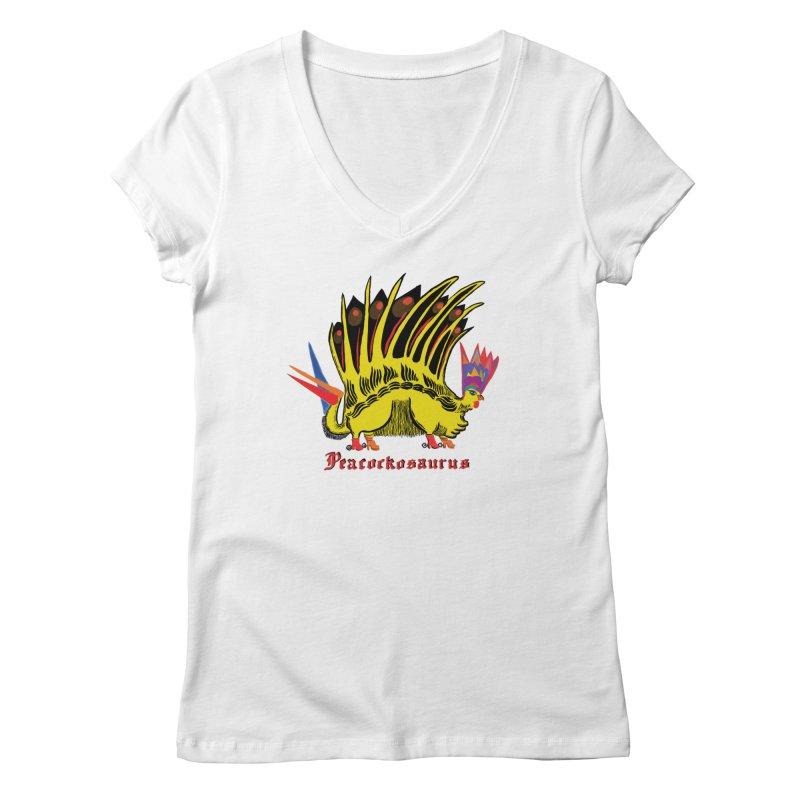 Peacockosaurus Women's Regular V-Neck by Julie Murphy's Artist Shop