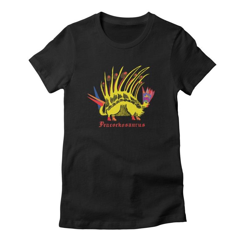 Peacockosaurus Women's Fitted T-Shirt by Julie Murphy's Artist Shop