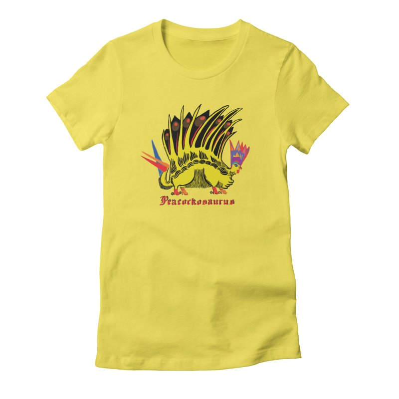 Peacockosaurus Women's Fitted T-Shirt by Julie Murphy's Artist Shop