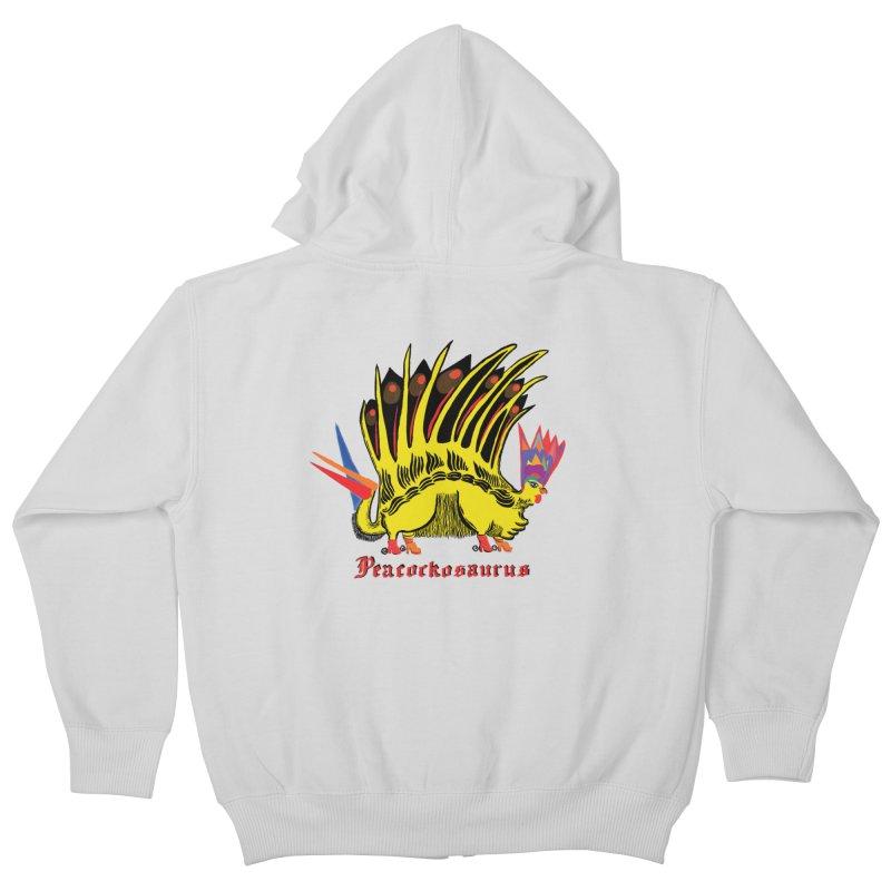 Peacockosaurus Kids Zip-Up Hoody by Julie Murphy's Artist Shop