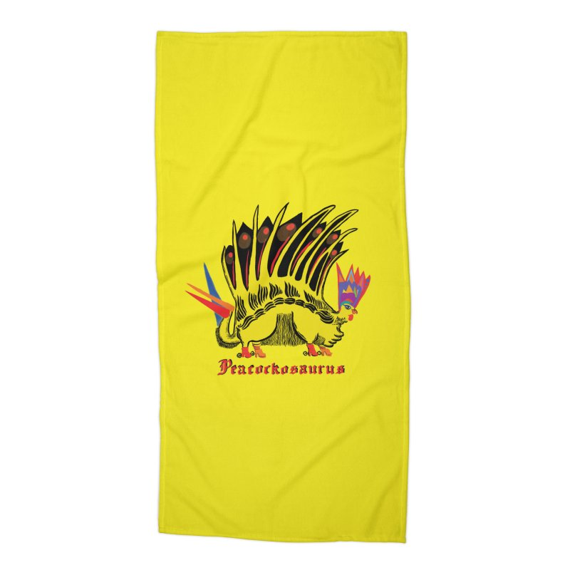 Peacockosaurus Accessories Beach Towel by Julie Murphy's Artist Shop
