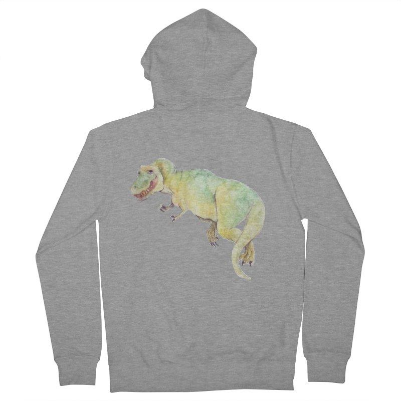 t-rex in watercolour Men's Zip-Up Hoody by designs by julie sweetin