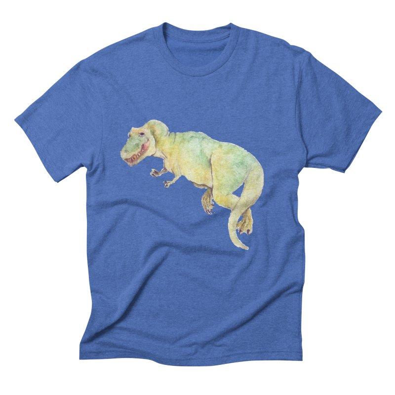 t-rex in watercolour Men's Triblend T-shirt by designs by julie sweetin