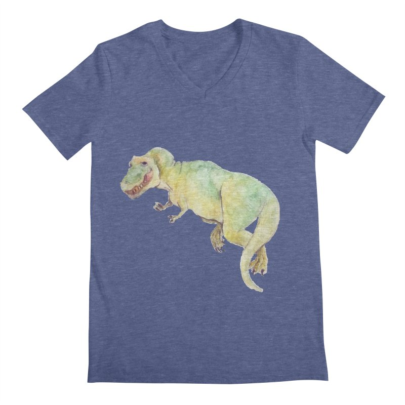 t-rex in watercolour Men's V-Neck by designs by julie sweetin