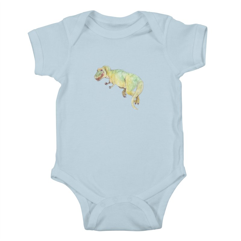 t-rex in watercolour Kids Baby Bodysuit by designs by julie sweetin