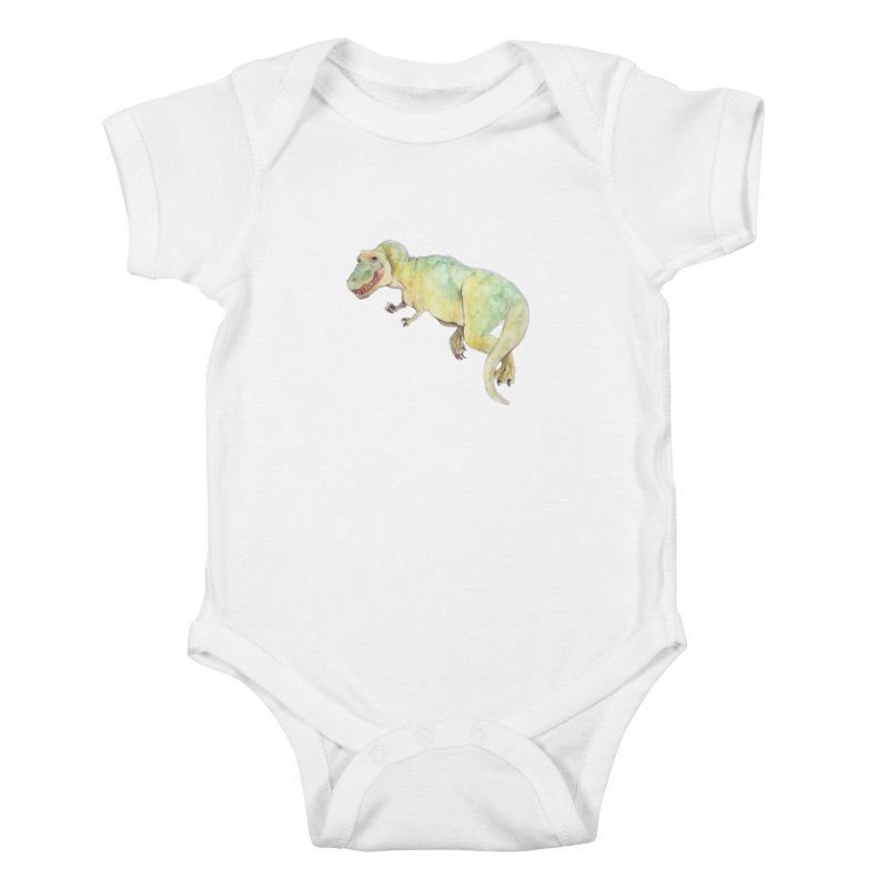 t-rex in watercolour Kids Baby Bodysuit by designs by julie sweetin