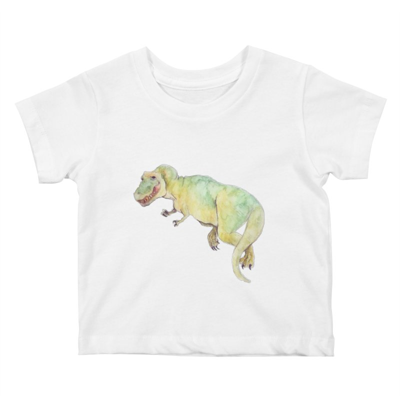 t-rex in watercolour Kids Baby T-Shirt by designs by julie sweetin