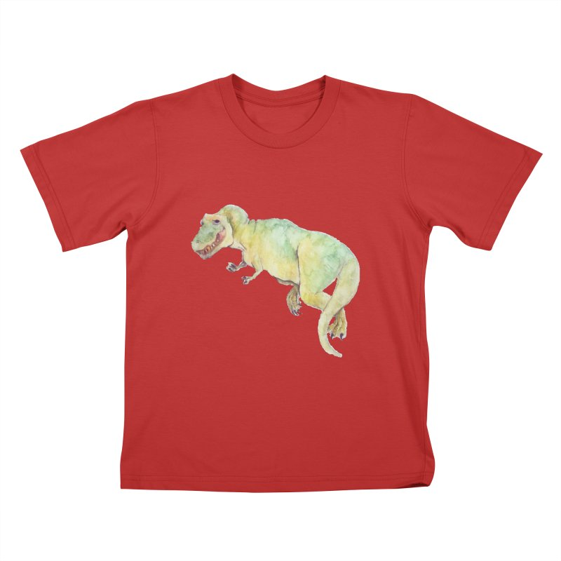 t-rex in watercolour Kids T-Shirt by designs by julie sweetin