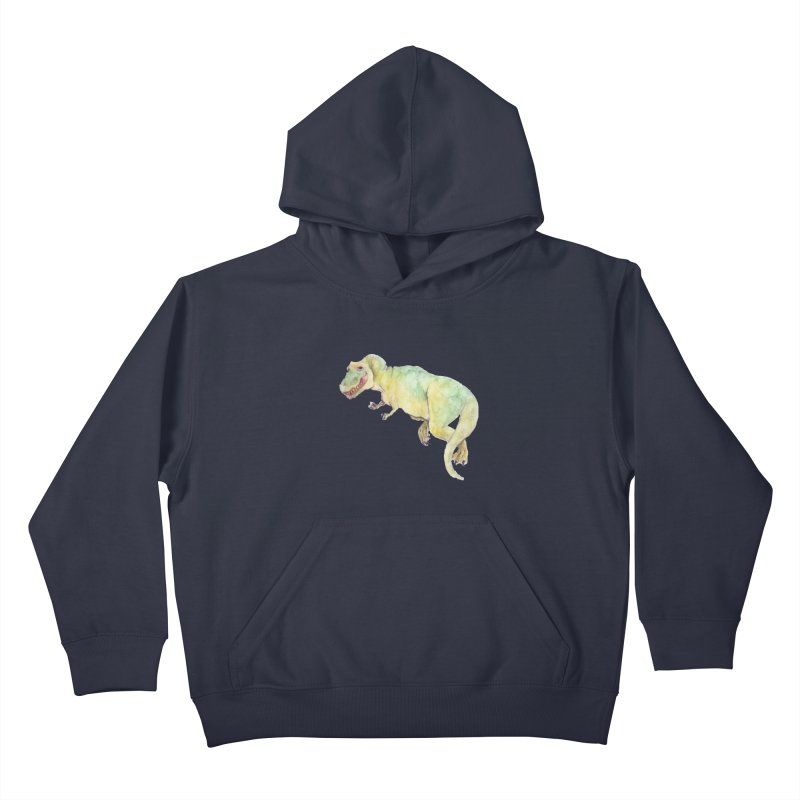 t-rex in watercolour Kids Pullover Hoody by designs by julie sweetin