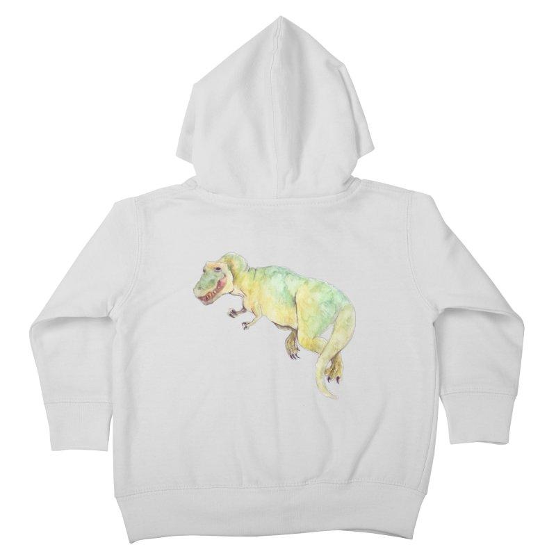 t-rex in watercolour Kids Toddler Zip-Up Hoody by designs by julie sweetin