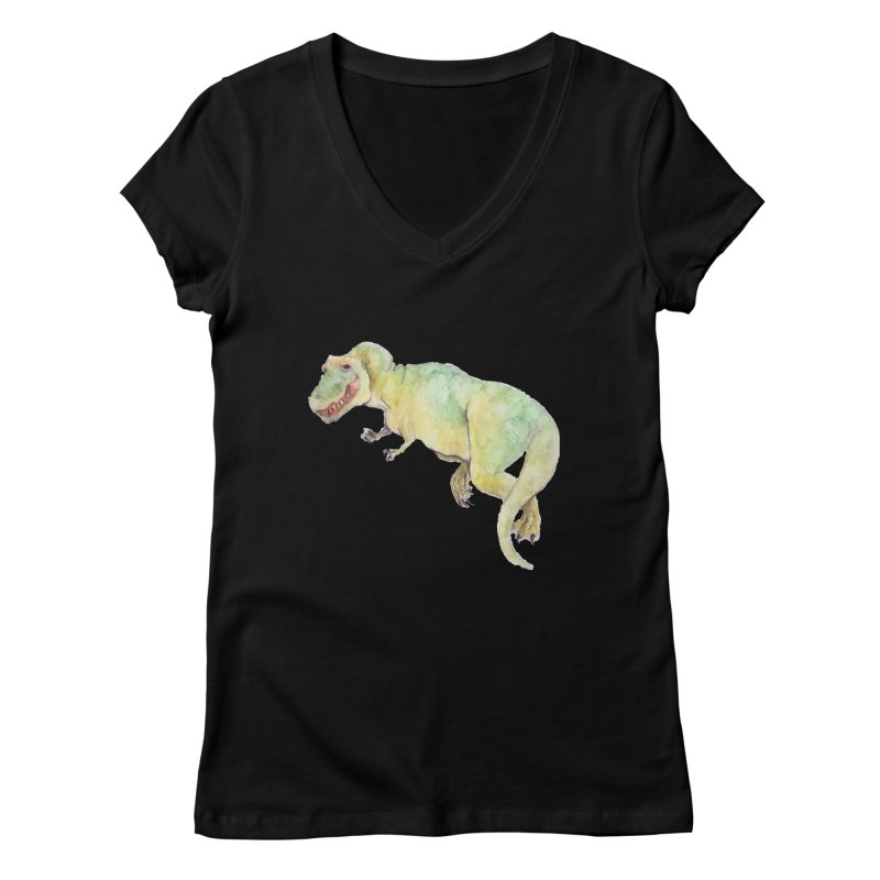 t-rex in watercolour Women's V-Neck by designs by julie sweetin