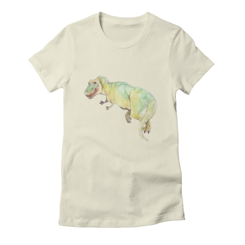 t-rex in watercolour Women's Fitted T-Shirt by designs by julie sweetin
