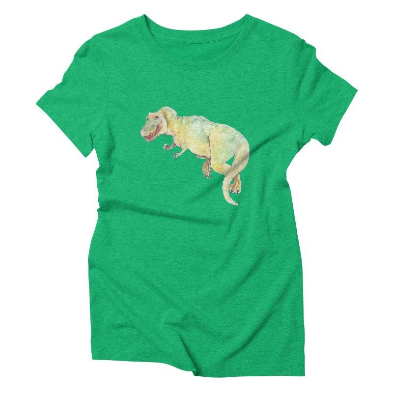 t-rex in watercolour Women's Triblend T-shirt by designs by julie sweetin