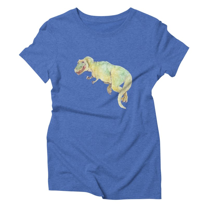 t-rex in watercolour Women's Triblend T-Shirt by designs by julie sweetin