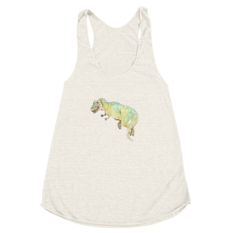 t-rex in watercolour Women's Racerback Triblend Tank by designs by julie sweetin