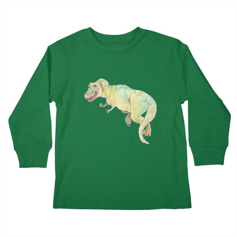 t-rex in watercolour Kids Longsleeve T-Shirt by designs by julie sweetin