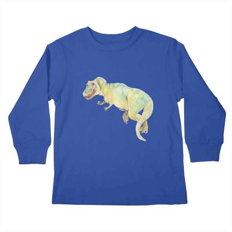 t-rex in watercolour Kids Longsleeve T-Shirt by designs by julie sweetin