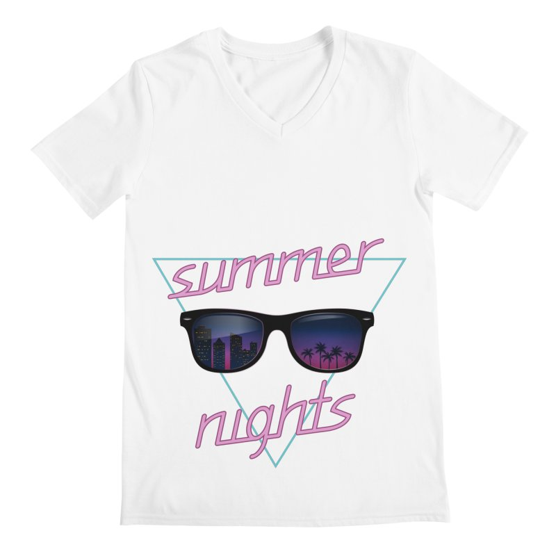 Summer nights Men's Regular V-Neck by juliusllopis's Artist Shop