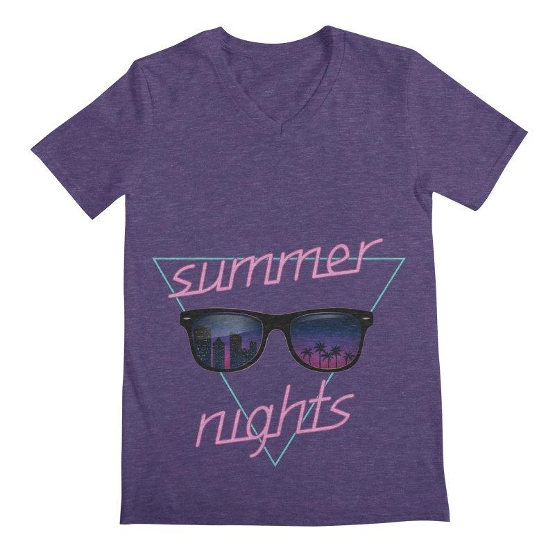 Summer nights Men's Regular V-Neck by juliusllopis's Artist Shop