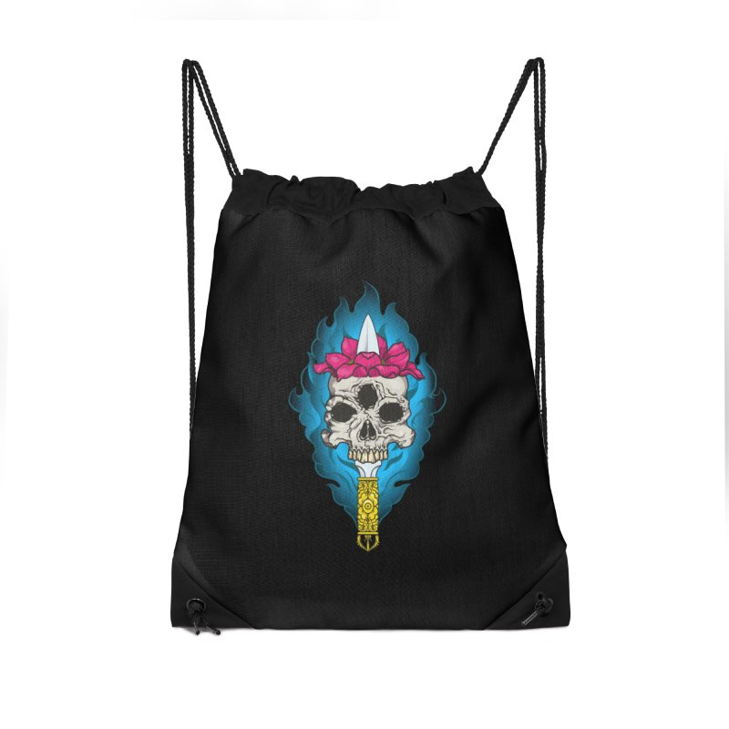 Lotus skull Accessories Drawstring Bag Bag by juliusllopis's Artist Shop