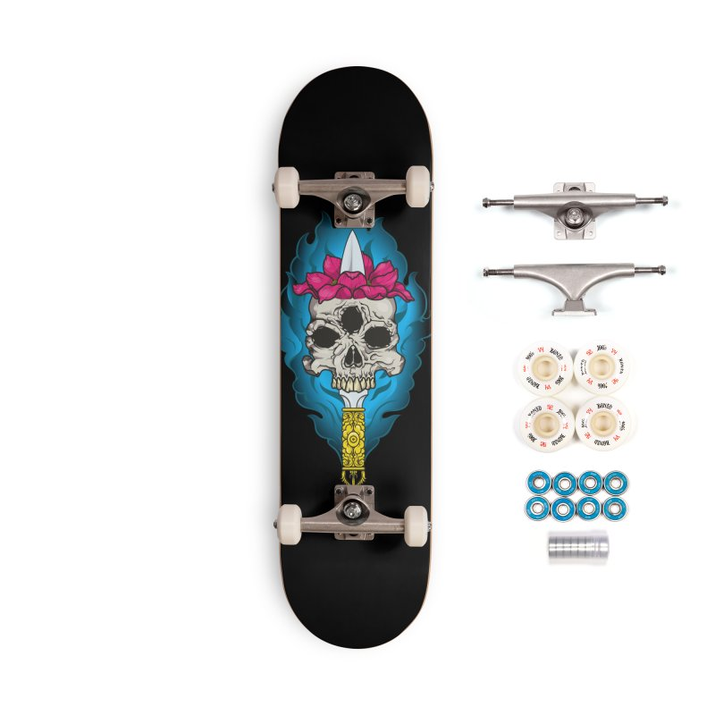 Lotus skull Accessories Complete - Premium Skateboard by juliusllopis's Artist Shop