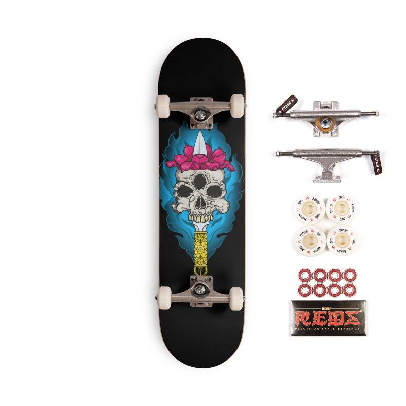 Lotus skull Accessories Complete - Pro Skateboard by juliusllopis's Artist Shop