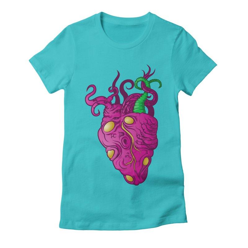 Cthulhu heart Women's Fitted T-Shirt by juliusllopis's Artist Shop