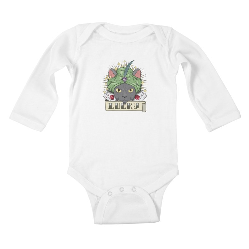 Lucky cat Kids Baby Longsleeve Bodysuit by juliusllopis's Artist Shop