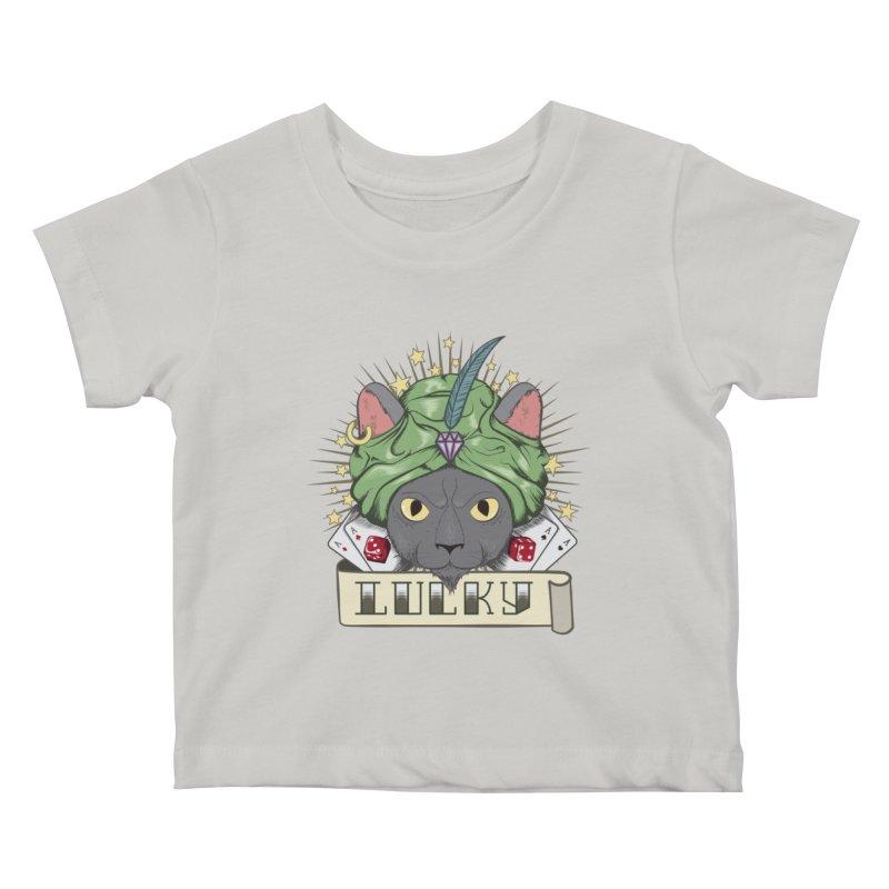 Lucky cat Kids Baby T-Shirt by juliusllopis's Artist Shop