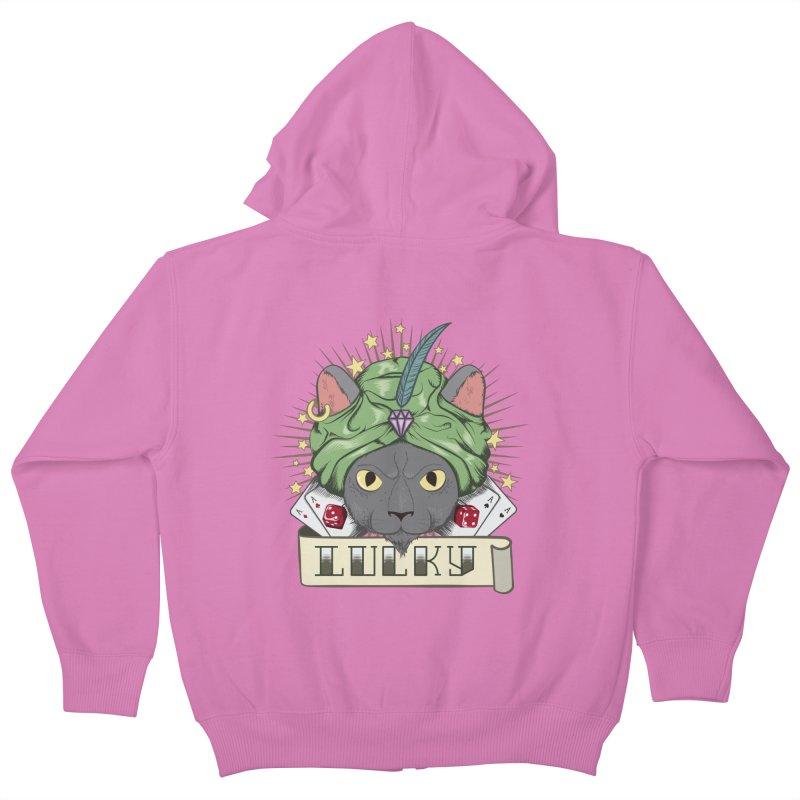 Lucky cat Kids Zip-Up Hoody by juliusllopis's Artist Shop