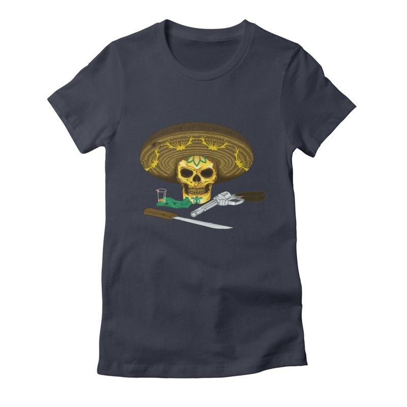 Mexican skull Women's Fitted T-Shirt by juliusllopis's Artist Shop